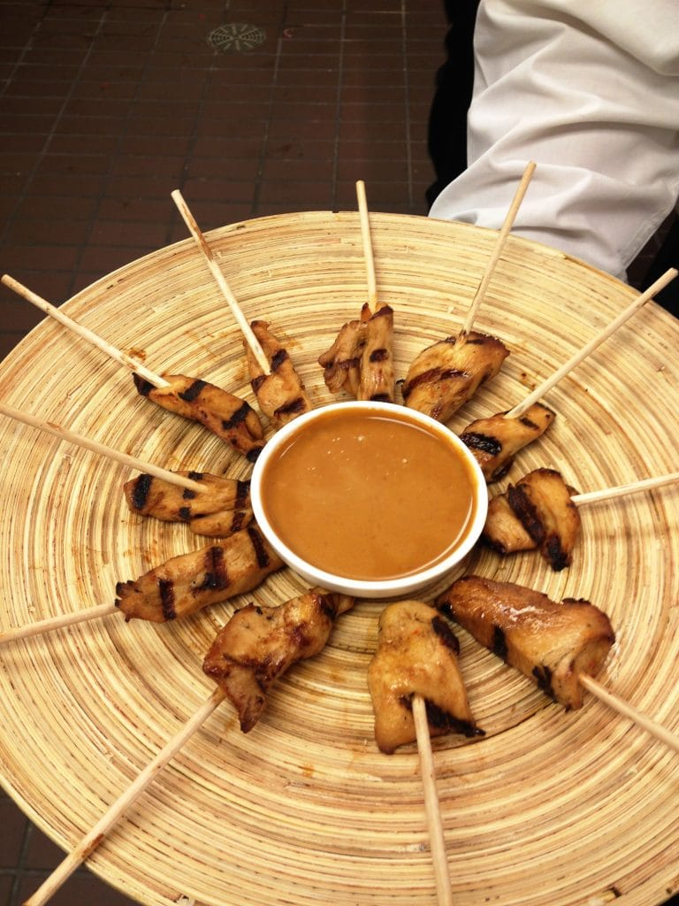 Chicken Sate Skewers with Peanut Sauce 768x1024 - Butlered Hors d'oeuvres