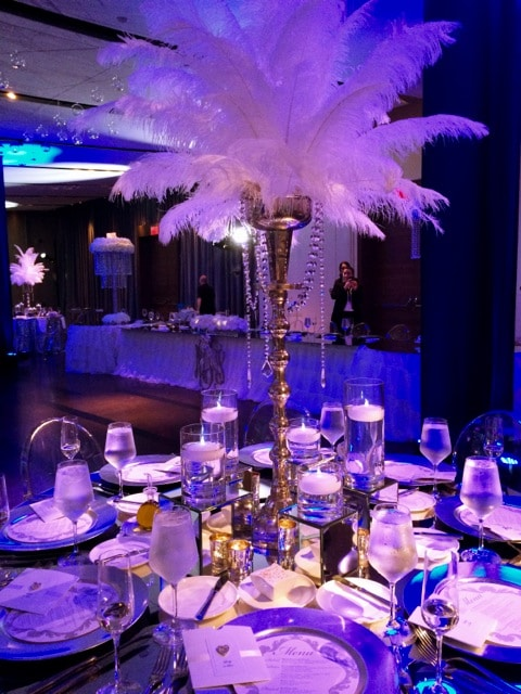 Feather centerpieces Gatsby look 2 - Atlantic Room
