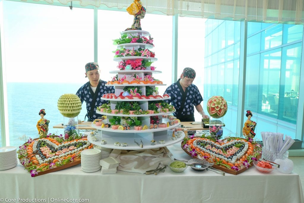 Sushi Wedding Cake display 1024x683 - Stations